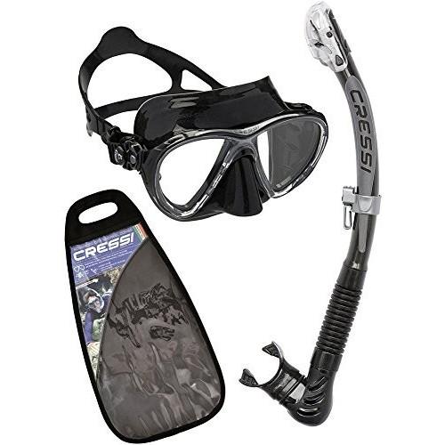 Cressi Masque et Tuba Adulte Plongée Snorkeling Kits de Randonnée Aquatique Noir